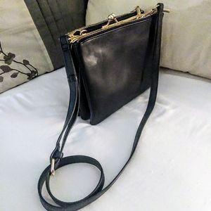 Accordion Style Crossbody Bag w/ Gold Accents
